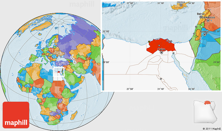 Political location map of lower egypt highlighted country 2d gumiabroncs Image collections