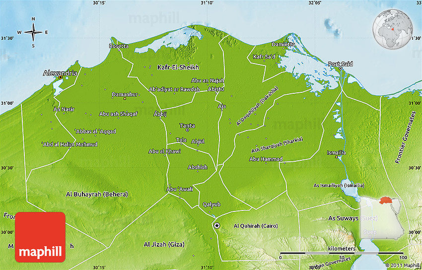 Physical Map Of Lower Egypt - Egypt physical map