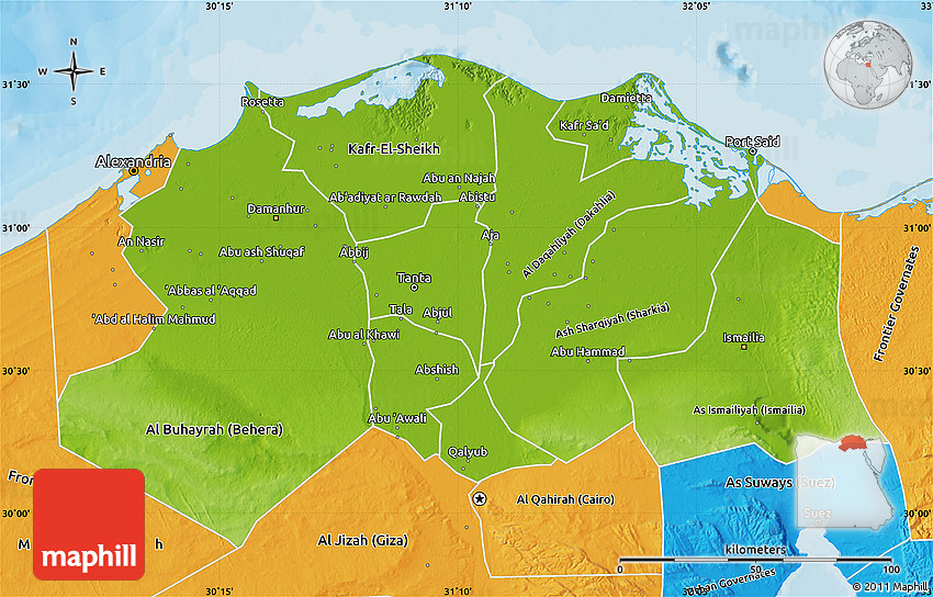 Physical Map Of Lower Egypt Political Outside - Egypt physical map