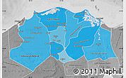 Political Shades Map of Lower Egypt, desaturated