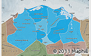 Political Shades Map of Lower Egypt, semi-desaturated