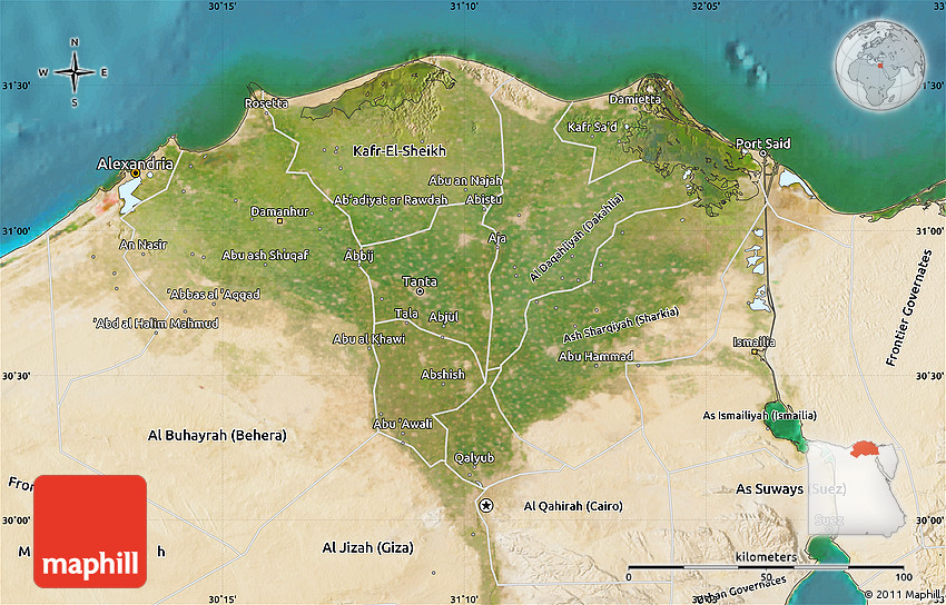 Satellite Map of Lower Egypt