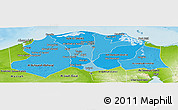 Political Shades Panoramic Map of Lower Egypt, physical outside