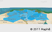Political Shades Panoramic Map of Lower Egypt, satellite outside
