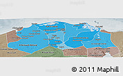 Political Shades Panoramic Map of Lower Egypt, semi-desaturated