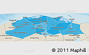 Political Shades Panoramic Map of Lower Egypt, shaded relief outside