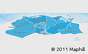 Political Shades Panoramic Map of Lower Egypt, single color outside