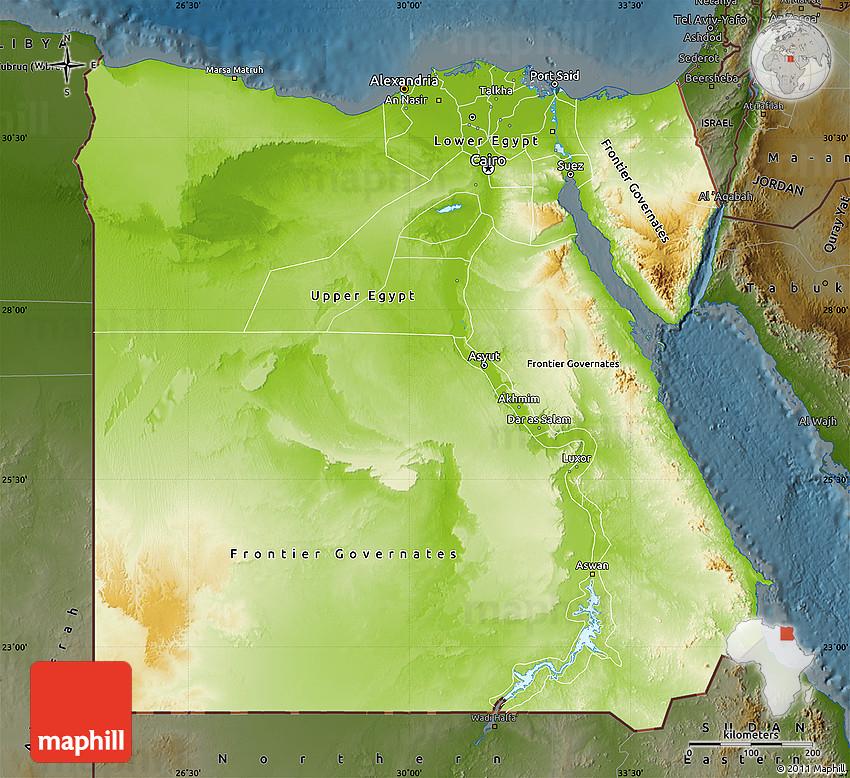 Physical Map Of Egypt Darken - Egypt physical map