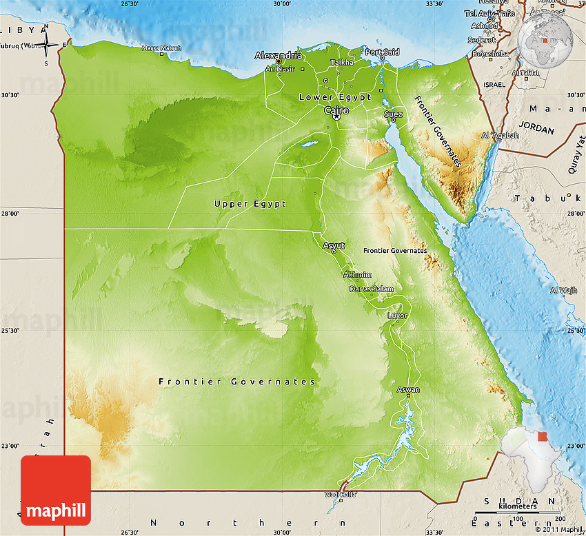 Physical Map Of Egypt Shaded Relief Outside - Map of egypt elevation