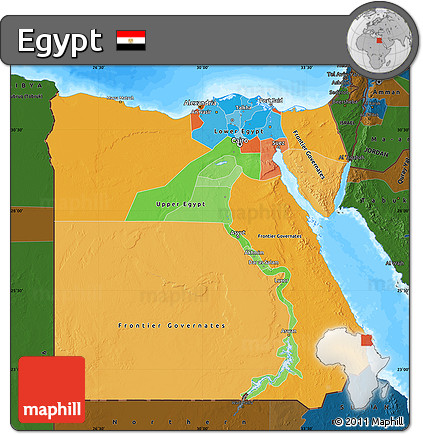 Free Political Map Of Egypt Darken Land Only - Map of egypt only