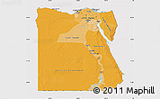 Political Shades Map of Egypt, cropped outside