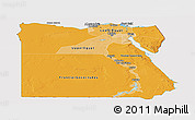 Political Shades Panoramic Map of Egypt, cropped outside