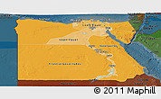 Political Shades Panoramic Map of Egypt, darken