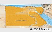 Political Shades Panoramic Map of Egypt, satellite outside, bathymetry sea