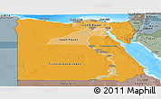 Political Shades Panoramic Map of Egypt, semi-desaturated, land only