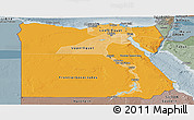 Political Shades Panoramic Map of Egypt, semi-desaturated