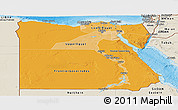 Political Shades Panoramic Map of Egypt, shaded relief outside, bathymetry sea