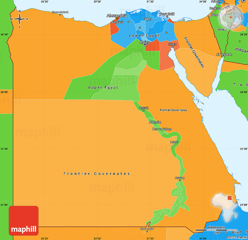 Political Simple Map Of Egypt - Un map of egypt