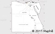 Silver Style Simple Map of Egypt, cropped outside