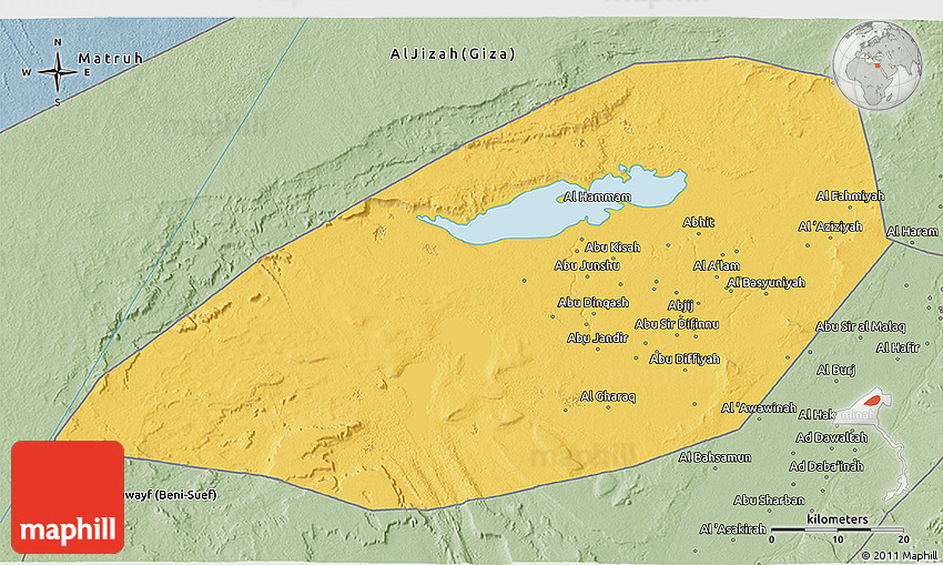 Savanna Style 3D Map of Al Fayyum Fayoum