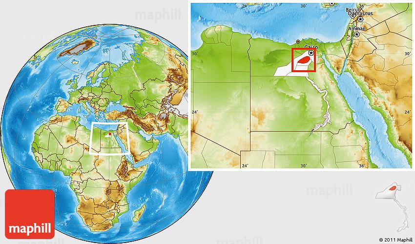 Physical Location Map Of Al Fayyum Fayoum Highlighted Parent - Map of fayoum egypt