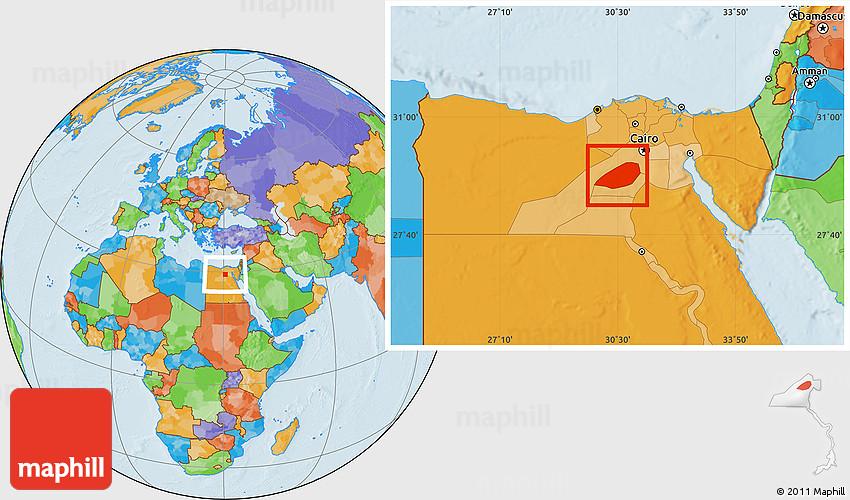 Political Location Map of Al Fayyum Fayoum