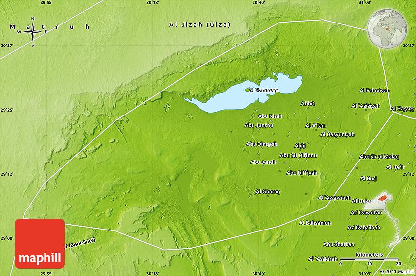 Physical Map of Al Fayyum Fayoum