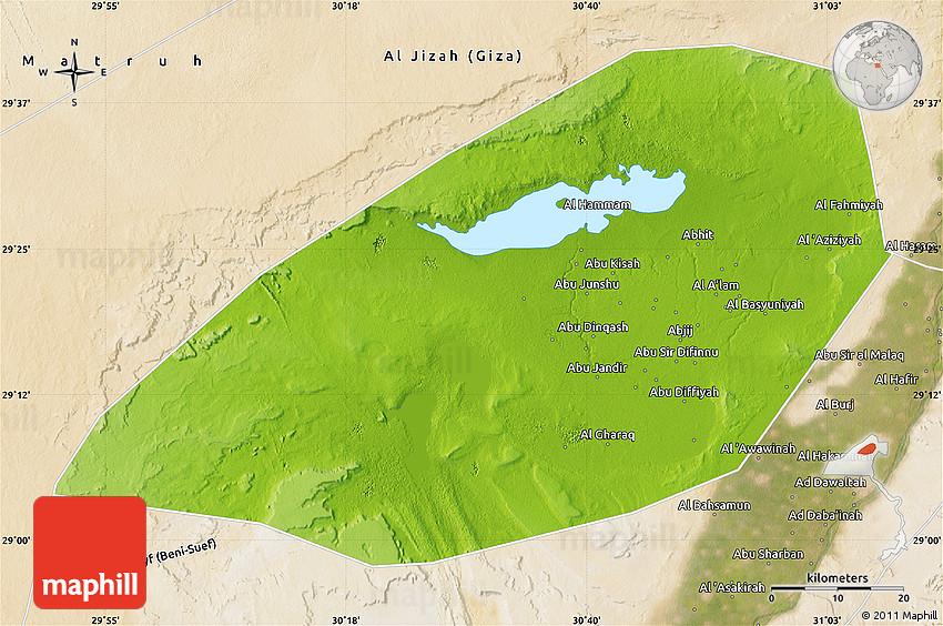 Physical Map Of Al Fayyum Fayoum Satellite Outside - Map of fayoum egypt
