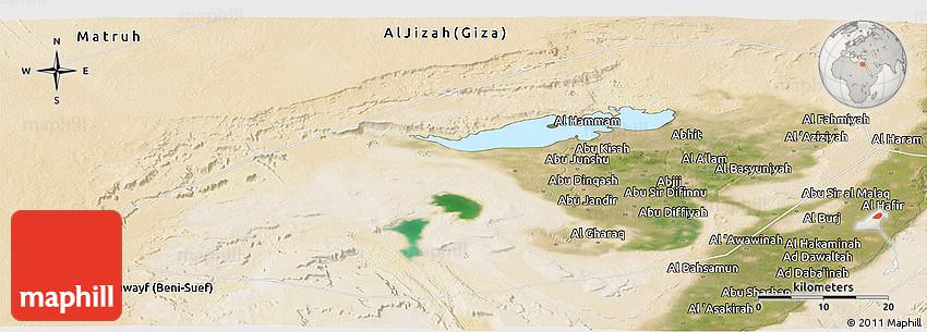 Satellite Panoramic Map of Al Fayyum Fayoum