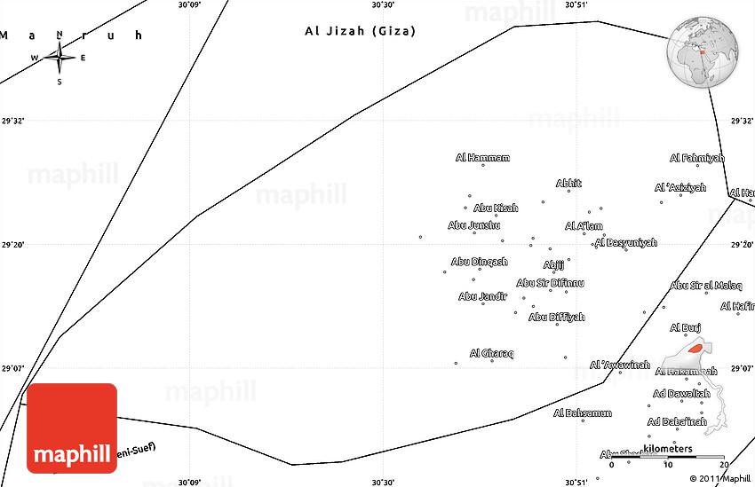 Blank Simple Map of Al Fayyum Fayoum