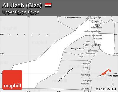 Free Silver Style Simple Map of Al Jizah Giza