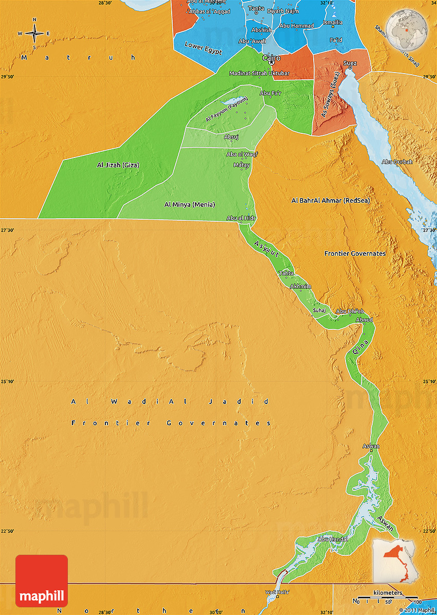 Political Shades Map Of Upper Egypt - Un map of egypt