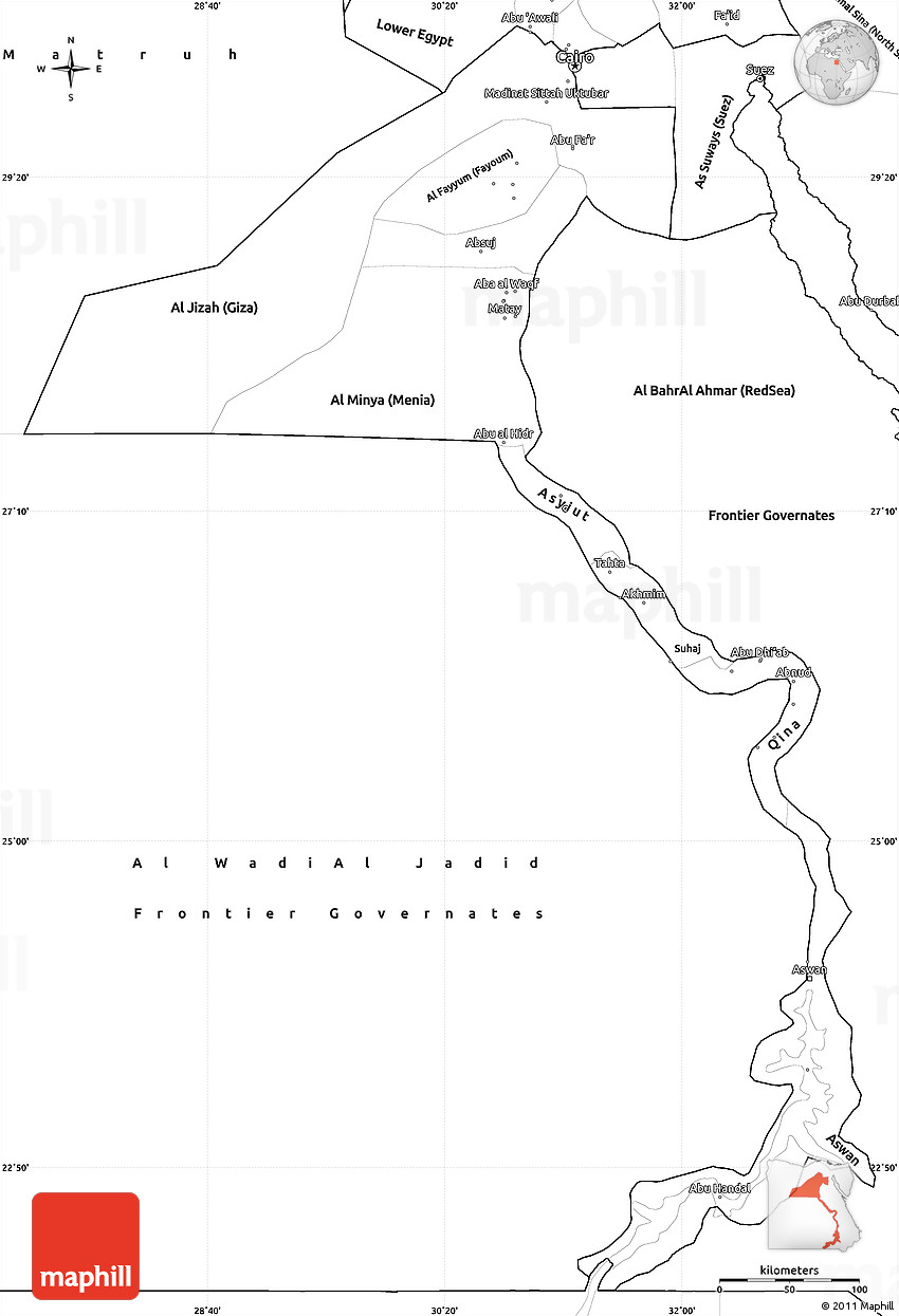 Blank Simple Map Of Upper Egypt - Unlabeled map of egypt