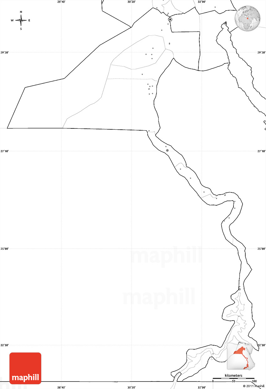 Blank Simple Map Of Upper Egypt No Labels