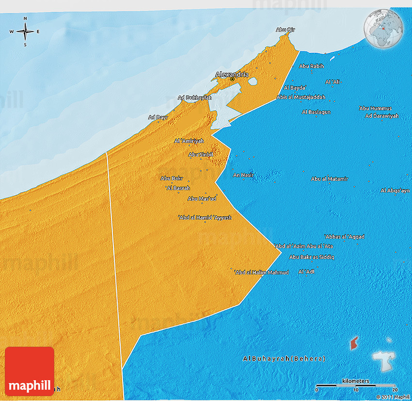 Political 3D Map of Al Iskandariyah Alex