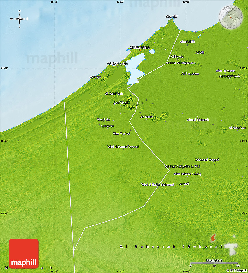 Physical Map of Al Iskandariyah Alex