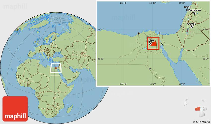 Savanna Style Location Map of Al Qahirah (Cairo) on