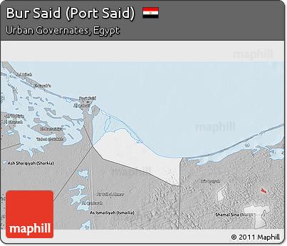 Free Gray 3D Map of Bur Said Port Said
