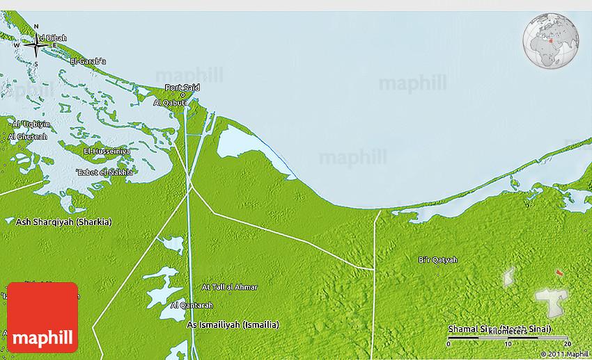 Physical 3D Map of Bur Said Port Said
