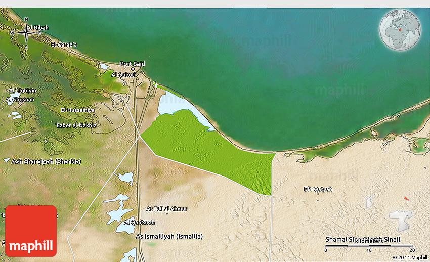 Physical 3D Map of Bur Said Port Said satellite outside