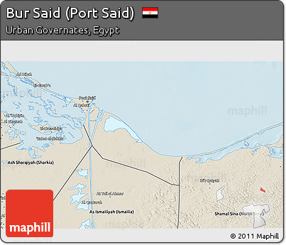 Free Shaded Relief 3D Map of Bur Said Port Said
