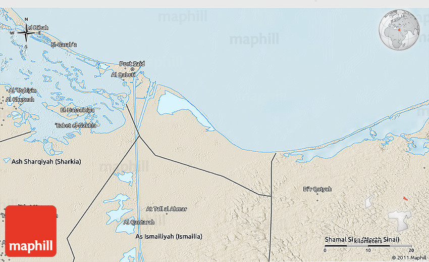 Shaded Relief 3D Map of Bur Said Port Said