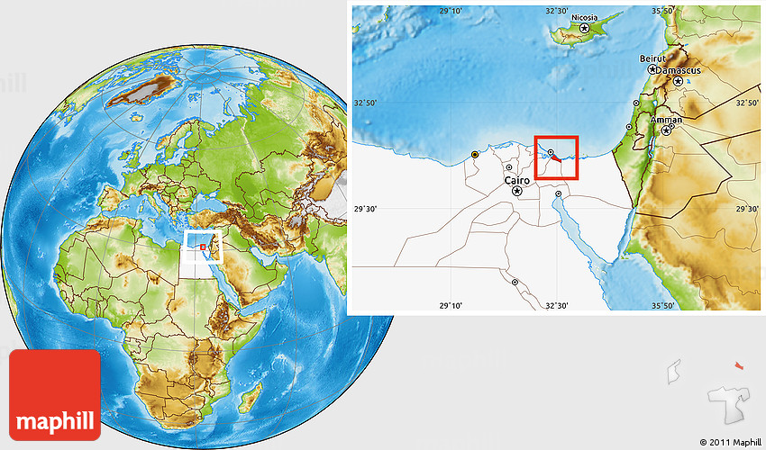 Physical Location Map of Bur Said Port Said highlighted country