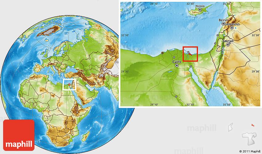 Physical Location Map of Bur Said Port Said