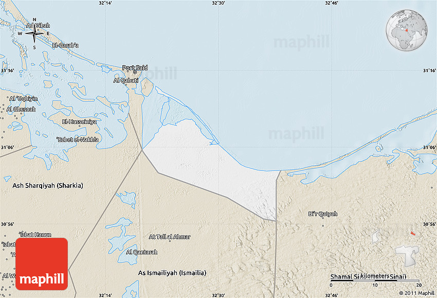 Classic Style Map of Bur Said Port Said