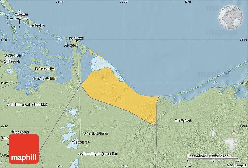 Savanna Style Map of Bur Said Port Said