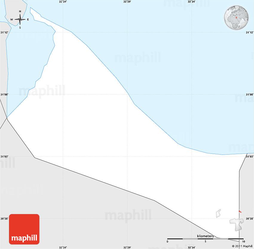 Silver Style Simple Map of Bur Said Port Said