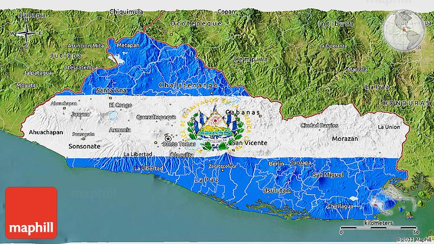Flag D Map Of El Salvador Satellite Outside - Satellite image photo of el salvador
