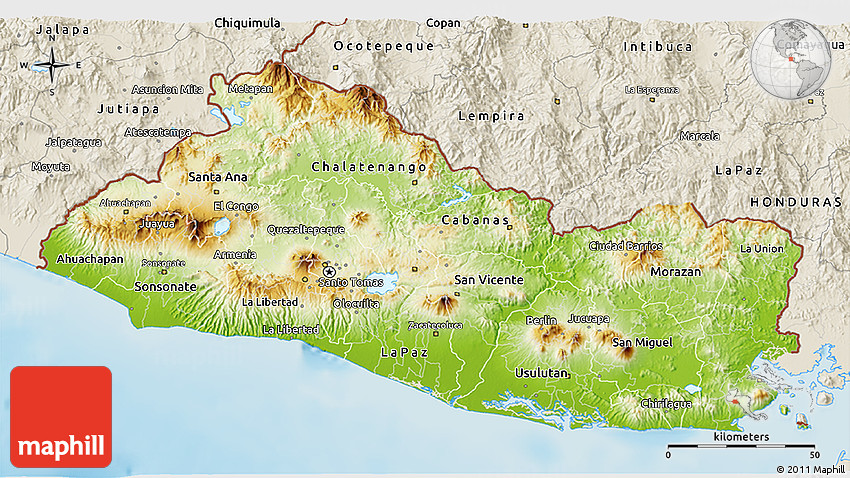 Physical 3d map of el salvador shaded relief outside gumiabroncs Gallery