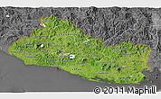 Satellite 3D Map of El Salvador, desaturated